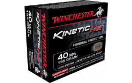 Winchester Ammo HE40JHP Kinetic High Energy 40 Smith & Wesson 155  GR Jacketed Hollow Point - 20rd Box
