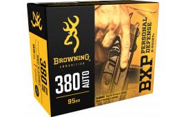 Browning Ammo B191703801 BXP X-Point 380 ACP 95  GR HP - 20rd Box