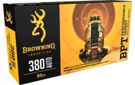 Browning Ammo B191803801 BPT Performance 380 ACP 95  GR FMJ - 50rd Box