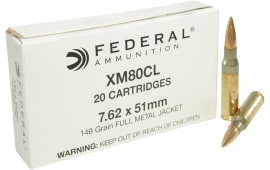 Federal XM80CL XM 308 Winchester/7.62 NATO 149 GR Full Metal Jacket - 20rd Box