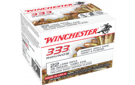 Winchester Ammo 22LR333HP 333 Rounds 22 Long Rifle 36 GR Copper-Plated Hollow Point - 10 Box ( 3330 Round ) Case