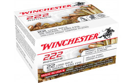 Winchester Ammo 22LR222HP 222 Round 22 Long Rifle 36 GR Copper-Plated Hollow Point - 2220rd Case