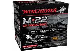 Winchester Ammo S22LRTSU8 M-22 Subsonic 22 Long Rifle 45 GR Lead Round Nose - 1600rd Case
