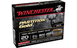 """Winchester Ammo SSP20 Supreme 20GA 2.75"""" 260 GR Sabot Slug Shot - 5sh Box"""