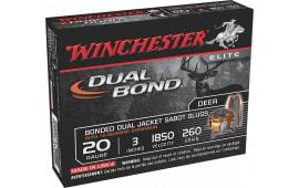 "Winchester Ammo SSDB203 Elite Dual Bond 20GA 3"" 260 GR Sabot Slug Shot - 5sh Box"