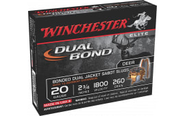 "Winchester Ammo SSDB20 Elite Dual Bond 20GA 2.75"" 260 GR Sabot Slug Shot - 5sh Box"