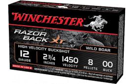 "Winchester Ammo S12RB00 Razorback XT High Velocity 12GA 2.75"" 8 Pellets 00 Buck Shot - 5sh Box"