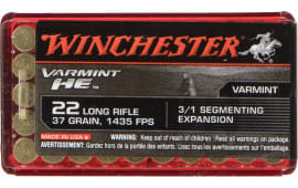 Winchester Ammo S22LRFSP Varmint HE 22 Long Rifle (LR) 37 GR Hollow Point 3/1 Segmenting Core - 50rd Box