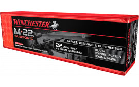 Winchester Ammo S22LRTSUP M-22 Subsonic 22 Long Rifle (LR) 45 GR Copper-Plated Round Nose - 100rd Box