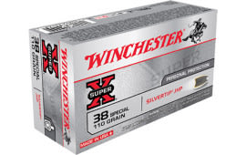 Winchester Ammo X38S9HP Super-X 38 Special 110 GR Silvertip HP - 50rd Box