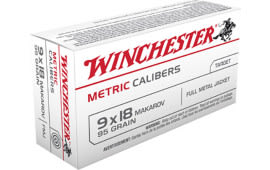 Winchester Ammo MC918M Metric 9x18 Makarov 95 GR Full Metal Jacket - 50rd Box