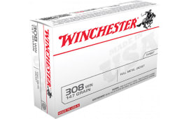 Winchester Ammo USA3081 Best Value 308 Winchester/7.62 NATO 147 GR Full Metal Jacket Boat Tail - 20rd Box