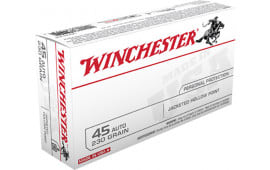 Winchester Ammo USA Case,45JHP, Best Value 45 ACP 230 GR Jacketed Hollow Point - 50 Rds / Box - 500 Round Case