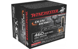 Winchester Ammo S460SWDB Elite 460 Smith & Wesson Magnum 260 GR Dual Jacket Hollow Point - 20rd Box