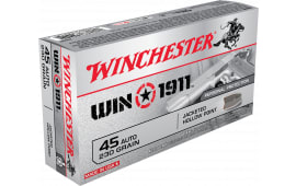Winchester Ammo X45P Win1911 45 ACP 230 GR Jacketed Hollow Point - 50rd Box - Brass, Boxer Re-loadable - Defense Rounds.