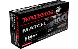 Winchester Ammo S556M Match .223/5.56 NATO 77 GR Boat Tail Hollow Point - 20rd Box