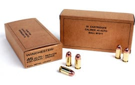 Winchester Ammo Brown Box Military Service Grade 45 ACP 230 GR Full Metal Jacket - 50 Rds / Box - 500 Round Case