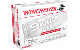 Winchester Ammo USA9W USA Centerfire 9mm Luger 115 GR Full Metal Jacket - 1000 Round Case