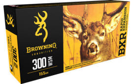 Browning Ammo B192130001 BXR Rapid Expansion 300 Winchester Short Magnum 155 GR Matrix Tip - 20rd Box
