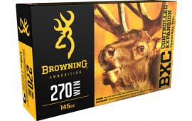 Browning Ammo B192202701 BXC Controlled Expansion 270 Win 145 GR Terminal Tip - 20rd Box