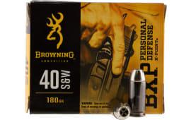 Browning Ammo B191700401 BXP X-Point 40 S&W 180 GR HP - 20rd Box