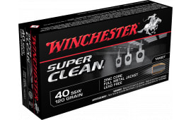 Winchester Ammo W40SWLF Super Clean 40 Smith & Wesson 120 GR Full Metal Jacket - 50rd Box
