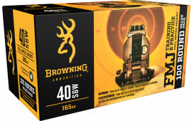 Browning Ammo B191800404 Training & Practice 40 Smith & Wesson (S&W) 165 GR Full Metal Jacket - 100rd Box