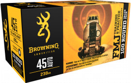 Browning Ammo B191800454 Training & Practice 45 ACP 230 GR Full Metal Jacket - 100rd Box