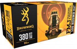 Browning Ammo B191803804 Training & Practice 380 ACP 95 GR Full Metal Jacket - 100rd Box