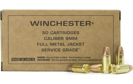 Winchester Ammo SG9W Service Grade 9mm Luger 115  GR Full Metal Jacket - 50rd Box
