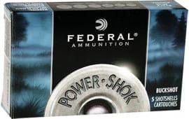 "Federal F13100 Power-Shok Buckshot 12GA 3"" 15 Pellets 00 Buck Shot - 5sh Box"
