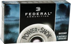 "Federal F1641B Power-Shok Buckshot 16GA 2.75"" 12 Pellets 1 Buck Shot - 5sh Box"