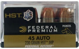 Federal P45HST2S Premium Personal Defense 45 ACP 230 GR Hydra-Shok Jacketed Hollow Point - 20rd Box