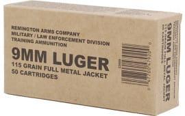 Remington Ammunition B9MM3 Overrun 9mm Luger 115 GR Full Metal Jacket - 50rd Box
