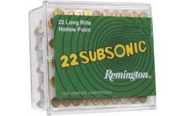 Remington Ammunition SUB22HP1 Subsonic 22 LR Hollow Point 38  GR - 100rd Box