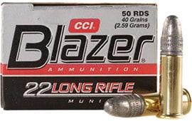 CCI 0021 Blazer 22LR Lead Round Nose 40 GR 50 Per Box/100 Per Case - 50rd Box