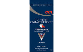 CCI 0052 Small Game 17 Hornady Magnum Rimfire (HMR) 20  GR Jacketed Soft Point - 50rd Box
