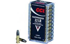 CCI 957 22 LR Suppressor 22 Long Rifle (LR) 45  GR Lead Hollow Point - 50rd Box