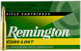 Remington Ammo R25063 Standard 25-06 Rem Core-Lokt Pointed Soft Point 120 GR - 20rd Box