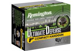 Remington Ammunition CHD38SBN Ultimate Defense Compact Handgun 38 Special +P 125 GR Brass Jacket Hollow Point - 20rd Box