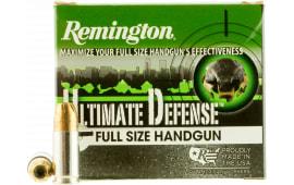 Remington Ammunition HD9MMC Ultimate Defense Full Size Handgun 9mm Luger 147 GR Brass Jacket Hollow Point - 20rd Box