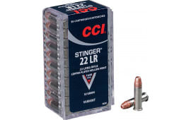 CCI 0050 Varmint 22 LR Stinger Copper-Plated HP 32 GR - 50rd Box