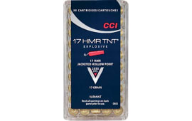 CCI 0053 Varmint 17 Hornady Magnum Rimfire (HMR) 17 GR TNT Jacketed Hollow Point - 50rd Box