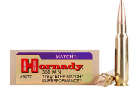 Hornady 8077 Superformance Match 308 Winchester/7.62 NATO 178 GR Hpbt - 20rd Box