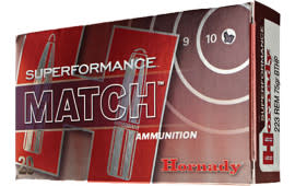 Hornady 81264 Superformance Match .223/5.56 NATO 75 GR Hollow Point Match Boat Tail - 20rd Box