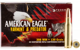 Federal AE308130VP American Eagle 308 Winchester/7.62 NATO 130 GR Jacketed Hollow Point - 40rd Box