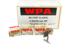 Wolf MC545BHP Military Classic 5.45x39mm Boat Tail Hollow Point 55  GR Steel Case - 750rd Case