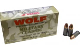 Wolf MC919FMJ Military Classic 9mm Luger 115  GR Full Metal Jacket - 500rd Case
