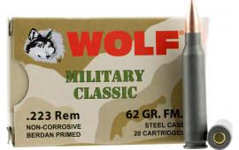 Wolf MC22362FMJ Military Classic 223 Remington 62  GR FMJ - 500rd Case