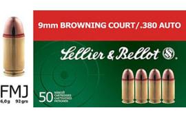 Sellier & Bellot SB380A Handgun 380 ACP 92  GR FMJ - 50rd Box